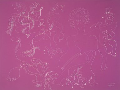 Irene Rice Pereira (American, 1905-1971). <em>Somewhere Today</em>, 1952. White marker on magenta colored paper, 17 7/8 x 24 7/8 in. Brooklyn Museum, Gift of Mr. and Mrs. Martin E. Segal, 1991.211.3. © artist or artist's estate (Photo: Brooklyn Museum, 1991.211.3_transpc002.jpg)