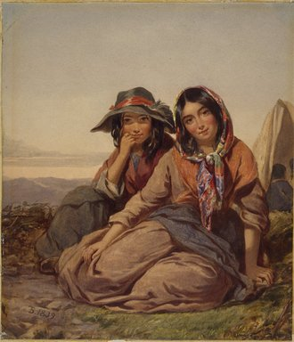 Thomas Sully (American, born England, 1783-1872). <em>Gypsy Maidens</em>, 1839. Watercolor on paper, 16 1/2 x 14 1/2 in. Brooklyn Museum, Purchased with funds given by Mr. and Mrs. Leonard L. Milberg, 1991.213 (Photo: Brooklyn Museum, 1991.213_SL3.jpg)