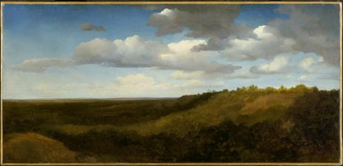 Charles-François Daubigny (French, 1817-1878). <em>Landscape in the Roman Campagna</em>, 1836. Oil on paper mounted on canvas, 16 1/8 x 33 7/8 in. (41 x 86 cm). Brooklyn Museum, Healy Purchase Fund B and Gift of Miss Isabel Shults, by exchange, 1991.214 (Photo: Brooklyn Museum, 1991.214_SL3.jpg)
