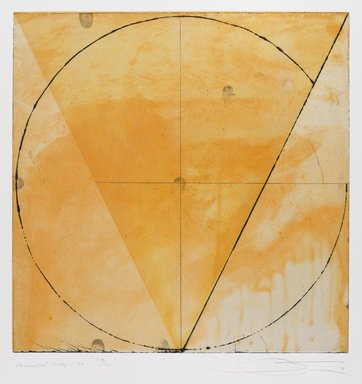 Shoichi Ida (Japanese, 1941-2006). <em>Descended Triangle No. 1</em>, 1987. Color spit bite aquatints with soft ground etching and drypoint on gampi paper chine collé, sheet: 26 x 22 5/8 in. Brooklyn Museum, Gift of Nancy Genn, 1991.215.4. © artist or artist's estate (Photo: Brooklyn Museum, 1991.215.4_IMLS_PS4.jpg)
