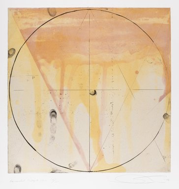 Shoichi Ida (Japanese, 1941-2006). <em>Descended Triangle No. 3</em>, 1987. Color spit bite aquatints with soft ground etching and drypoint on gampi paper chine collé, sheet: 26 x 22 5/8 in. Brooklyn Museum, Gift of Nancy Genn, 1991.215.6. © artist or artist's estate (Photo: Brooklyn Museum, 1991.215.6_IMLS_PS4.jpg)