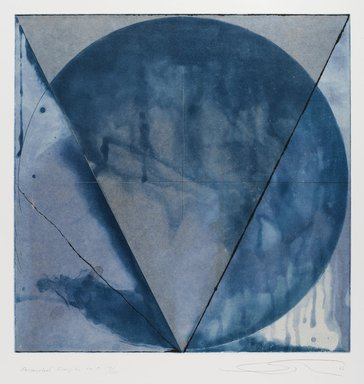 Shoichi Ida (Japanese, 1941-2006). <em>Descended Triangle No. 5</em>, 1987. Color spit bite aquatints with soft ground etching and drypoint on gampi paper chine collé, Sheet: 26 x 22 5/8 in. (66 x 57.5 cm). Brooklyn Museum, Gift of Nancy Genn, 1991.215.8. © artist or artist's estate (Photo: Brooklyn Museum, 1991.215.8_IMLS_PS4.jpg)