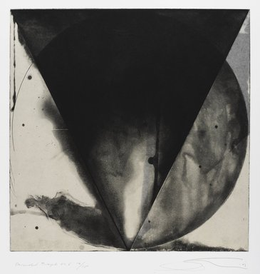 Shoichi Ida (Japanese, 1941-2006). <em>Descended Triangle No. 6</em>, 1987. Color spit bite aquatints with soft ground etching and drypoint on gampi paper chine collé, Sheet: 26 x 22 5/8 in. (66 x 57.5 cm). Brooklyn Museum, Gift of Nancy Genn, 1991.215.9. © artist or artist's estate (Photo: Brooklyn Museum, 1991.215.9_IMLS_PS4.jpg)