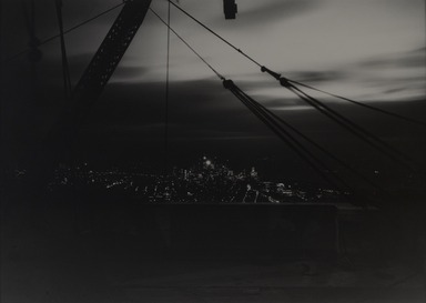 Lewis Wickes Hine (American, 1874-1940). <em>New York from the Empire State Building at Night</em>, 1931. Gelatin silver photograph, image: 13 3/4 x 19 1/8 in. (34.9 x 48.6 cm). Brooklyn Museum, Gift of Drs. Naomi and Walter Rosenblum, 1991.220.1 (Photo: , 1991.220.1_PS9.jpg)