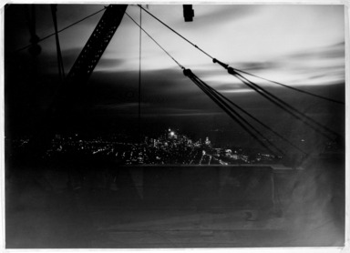 Lewis Wickes Hine (American, 1874-1940). <em>New York from the Empire State Building at Night</em>, 1931. Gelatin silver photograph, image: 13 3/4 x 19 1/8 in. (34.9 x 48.6 cm). Brooklyn Museum, Gift of Drs. Naomi and Walter Rosenblum, 1991.220.1 (Photo: Brooklyn Museum, 1991.220.1_bw.jpg)