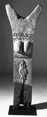 Dogon. <em>Togu Na Post</em>, 19th century. Wood, 48 x 16 1/2 x 7 in. (121.8 x 41.8 x 17.8 cm). Brooklyn Museum, Gift of Eugene and Harriet Becker, 1991.226.1. Creative Commons-BY (Photo: Brooklyn Museum, 1991.226.1_bw.jpg)