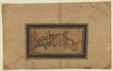 <em>Elephant Combat</em>, 17th century (possibly). Light color wash and gold on paper, 3 3/8 x 5 in. (exclusive of borders). Brooklyn Museum, Gift of Dr. Virgil H. Bird, 1991.236.1 (Photo: Brooklyn Museum, 1991.236.1_IMLS_PS3.jpg)