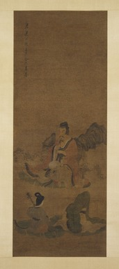 School of Chen Hongshou (Chinese, 1598-1652). <em>Listening to Music</em>, 1368-1644. Hanging scroll, ink and color on silk, Overall: 94 x 24 in. (238.8 x 61 cm). Brooklyn Museum, Gift of C.C. Wang & Family Collection, 1991.237.1 (Photo: Brooklyn Museum, 1991.237.1_IMLS_SL2.jpg)