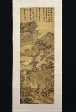 Tang Yin (Chinese, 1470-1523). <em>Landscape</em>, last quarter 15th-first quarter 16th century. Ink and color on paper, Overall: 77 x 20 1/2 in. (195.6 x 52.1 cm). Brooklyn Museum, Gift of C.C. Wang & Family Collection, 1991.237.3 (Photo: Brooklyn Museum, 1991.237.3_IMLS_SL2.jpg)