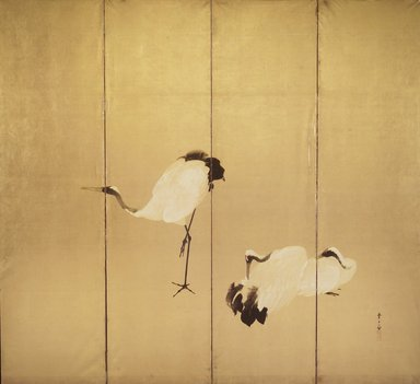 Kawamura Manshu (Japanese, 1880-1942). <em>Cranes (One of Pair)</em>, early 20th century. One of a pair of four-paneled folding screens, color, ink and gold on paper, 67 x 73 1/2 in. (170.2 x 186.7cm). Brooklyn Museum, Gift of Henry and Liza Hyde, 1991.242.2. Creative Commons-BY (Photo: Brooklyn Museum, 1991.242.2.jpg)
