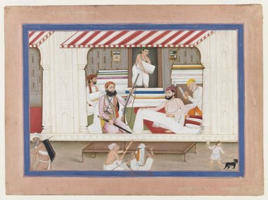 Basarat (son of Ditta). <em>Cloth Merchant's Shop</em>, ca. 1850. Opaque watercolor and gold on paper, sheet: 10 5/8 x 14 5/8 in.  (27.0 x 37.1 cm). Brooklyn Museum, Gift of Mr. and Mrs. Robert L. Poster, 1991.246 (Photo: Brooklyn Museum, 1991.246_IMLS_PS3.jpg)