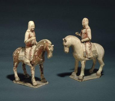 <em>Male Figure Riding Horse, One of Pair</em>, 581-618. Earthenware, traces of pigment, 9 1/4 x 3 3/4 in. (23.5 x 9.5 cm). Brooklyn Museum, Gift of Lucile E. Selz, 1991.247.3. Creative Commons-BY (Photo: , 1991.247.2_1991.247.3_SL1.jpg)