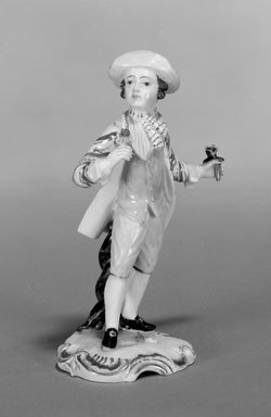Hochst Porcelain Factory (1746-1796). <em>Figure of a Gardener</em>, ca. 1755. Porcelain, 5 1/8 x 3 1/4 x 2 1/8 in. (12.9 x 9.8 x 5.4 cm). Brooklyn Museum, Gift of Louis John and Pamela Kay Ercole in memory of our grandparents, Luigi Ercole and Maria Esposito Ercole from Naples, Italy, 1991.254. Creative Commons-BY (Photo: Brooklyn Museum, 1991.254_bw.jpg)