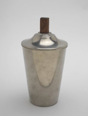Marion Anderson Noyes (American, 1907-2002). <em>Canister with Lid</em>, ca. 1933. Pewter, walnut, 7 x 3 3/4 x 3 3/4 in. (17.8 x 9.5 x 9.5 cm). Brooklyn Museum, Gift of Marion Anderson Noyes, 1991.258.5a-b. Creative Commons-BY (Photo: Brooklyn Museum, 1991.258.5a-b.jpg)