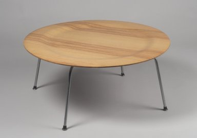 Charles Eames (American, 1907-1978). <em>Coffee Table with Metal Legs (CTM)</em>, Designed 1946; Manufactured 1949-1957. Molded plywood, chromed metal, wood, rubber, 15 3/8 x 34 1/8 x 33 3/4 in. (39.1 x 86.7 x 85.7 cm). Brooklyn Museum, Gift of Paul F. Walter, 1991.261.1. Creative Commons-BY (Photo: Brooklyn Museum, 1991.261.1.jpg)