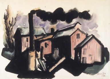 Chaim Gross (American, born Austria, 1904-1991). <em>Nocturnal Street Scene</em>, 1925. Watercolor on Japanese paper, 10 1/4 x 14 1/4 in. Brooklyn Museum, Gift of Charles F. Gilman, 1991.264. © artist or artist's estate (Photo: Brooklyn Museum, 1991.264_transp377.jpg)