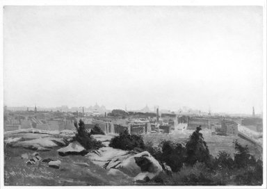 August Will (American, born Germany, 1834-1910). <em>View toward New York City from Montgomery Street Bluff, Jersey City</em>, ca. 1875-1877. Oil on paper, 11 x 15 13/16 in. (27.9 x 40.1 cm). Brooklyn Museum, Gift of Gustavus Remak Ramsay, 1991.266 (Photo: Brooklyn Museum, 1991.266_bw.jpg)