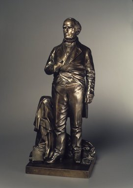 Thomas Ball (American, 1819-1911). <em>Daniel Webster</em>, 1853. Bronze, Overall: 29 9/16 x 13 1/4 x 11 in. (75.1 x 33.7 x 27.9 cm). Brooklyn Museum, Gift of M. Christmann Zulli, 1991.269. Creative Commons-BY (Photo: Brooklyn Museum, 1991.269_transp3737.jpg)