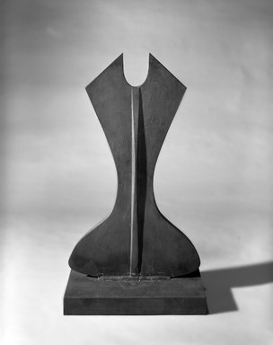 Beverly Pepper (American, 1922-2020). <em>Janus Rust Altar</em>, 1986. Cast iron, 43 x 22 3/4 in. Brooklyn Museum, Gift of Rosalind E. Krauss, 1991.276. © artist or artist's estate (Photo: Brooklyn Museum, 1991.276_bw.jpg)