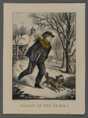 Currier & Ives (American). <em>Throw if You Dare!</em>, n.d. Hand-colored lithograph on wove paper, Sheet: 9 1/2 x 7 1/16 in. (24.2 x 18 cm). Brooklyn Museum, Gift of Mrs. Harry Elbaum in honor of Daniel Brown, art critic, 1991.285.10 (Photo: Brooklyn Museum, 1991.285.10_PS1.jpg)