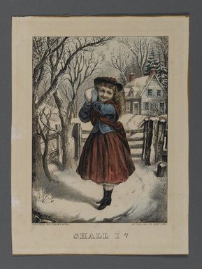 Currier & Ives (American). <em>Shall I?</em>, n.d. Hand-colored lithograph on wove paper, Sheet: 9 9/16 x 7 1/16 in. (24.3 x 18 cm). Brooklyn Museum, Gift of Mrs. Harry Elbaum in honor of Daniel Brown, art critic, 1991.285.11 (Photo: Brooklyn Museum, 1991.285.11_PS1.jpg)