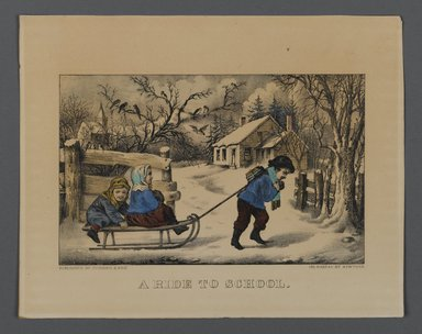 Currier & Ives (American). <em>A Ride to School</em>, n.d. Hand-colored lithograph on wove paper, Sheet: 7 13/16 x 10 in. (19.8 x 25.4 cm). Brooklyn Museum, Gift of Mrs. Harry Elbaum in honor of Daniel Brown, art critic, 1991.285.12 (Photo: Brooklyn Museum, 1991.285.12_PS1.jpg)