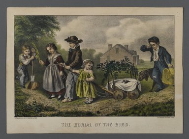 Currier & Ives (American). <em>The Burial of the Bird</em>, n.d. Hand-colored lithograph on wove paper, Sheet: 10 x 14 in. (25.4 x 35.5 cm). Brooklyn Museum, Gift of Mrs. Harry Elbaum in honor of Daniel Brown, art critic, 1991.285.13 (Photo: Brooklyn Museum, 1991.285.13_PS1.jpg)