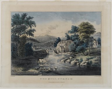 Nathaniel Currier (American, 1813-1888). <em>The Mill-Stream</em>, n.d. Hand-colored lithograph on wove paper, 11 x 15 1/4in. (27.9 x 38.7cm). Brooklyn Museum, Gift of Mrs. Harry Elbaum in honor of Daniel Brown, art critic, 1991.285.14 (Photo: Brooklyn Museum, 1991.285.14_PS1.jpg)