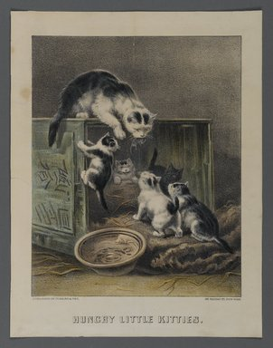 Currier & Ives (American). <em>Hungry Little Kitties</em>, n.d. Hand-colored lithograph on wove paper, Sheet: 12 5/16 x 9 9/16 in. (31.2 x 24.3 cm). Brooklyn Museum, Gift of Mrs. Harry Elbaum in honor of Daniel Brown, art critic, 1991.285.15 (Photo: Brooklyn Museum, 1991.285.15_PS1.jpg)