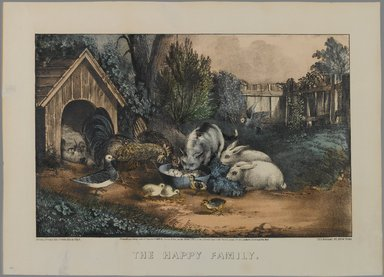 Currier & Ives (American). <em>The Happy Family</em>, n.d. Hand-colored lithograph on wove paper, Sheet: 10 5/8 x 14 15/16 in. (27 x 38 cm). Brooklyn Museum, Gift of Mrs. Harry Elbaum in honor of Daniel Brown, art critic, 1991.285.16 (Photo: Brooklyn Museum, 1991.285.16_PS1.jpg)