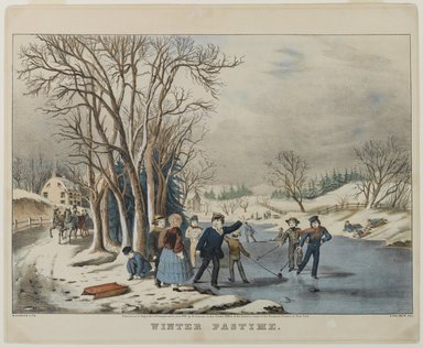 Nathaniel Currier (American, 1813-1888). <em>Winter Pastime</em>, 1855. Hand-colored lithograph on wove paper, 10 3/8 x 14 3/4in. (26.4 x 37.5cm). Brooklyn Museum, Gift of Mrs. Harry Elbaum in honor of Daniel Brown, art critic, 1991.285.17 (Photo: Brooklyn Museum, 1991.285.17_PS1.jpg)