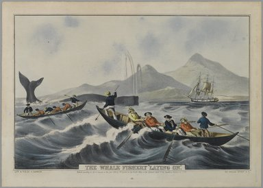 "Nathaniel Currier (American, 1813-1888). <em>The Whale Fishery, ""Laying On,""</em> 1852. Hand-colored lithograph on wove paper, Sheet: 10 1/16 x 14 1/8 in. (25.5 x 35.8 cm). Brooklyn Museum, Gift of Mrs. Harry Elbaum in honor of Daniel Brown, art critic, 1991.285.19 (Photo: Brooklyn Museum, 1991.285.19_PS1.jpg)"