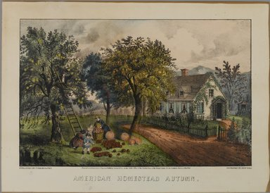 Currier & Ives (American). <em>American Homestead Autumn</em>, 1868-1869. Hand-colored lithograph on wove paper, Sheet: 9 15/16 x 14 in. (25.3 x 35.5 cm). Brooklyn Museum, Gift of Mrs. Harry Elbaum in honor of Daniel Brown, art critic, 1991.285.1 (Photo: Brooklyn Museum, 1991.285.1_PS1.jpg)