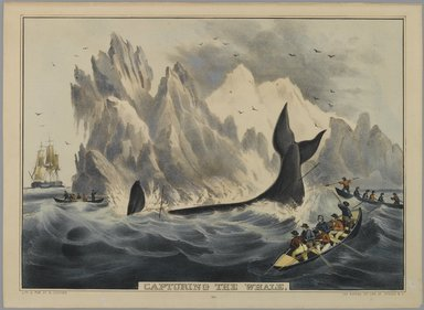Nathaniel Currier (American, 1813-1888). <em>Capturing the Whale</em>, n.d. Hand-colored lithograph on wove paper, Sheet: 10 1/8 x 13 3/4 in. (25.7 x 35 cm). Brooklyn Museum, Gift of Mrs. Harry Elbaum in honor of Daniel Brown, art critic, 1991.285.20 (Photo: Brooklyn Museum, 1991.285.20_PS1.jpg)