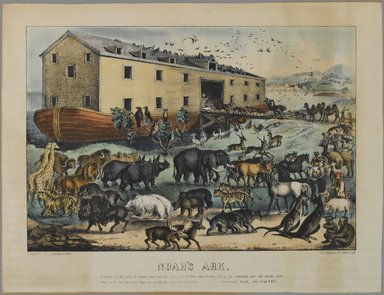 Nathaniel Currier (American, 1813-1888). <em>Noah's Ark</em>, n.d. Hand-colored lithograph on wove paper, Sheet: 10 15/16 x 14 5/16 in. (27.8 x 36.4 cm). Brooklyn Museum, Gift of Mrs. Harry Elbaum in honor of Daniel Brown, art critic, 1991.285.21 (Photo: Brooklyn Museum, 1991.285.21_PS1.jpg)