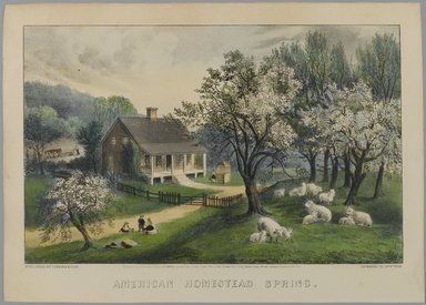 Currier & Ives (American). <em>American Homestead Spring</em>, 1868-1869. Hand-colored lithograph on wove paper, Sheet: 9 7/8 x 13 7/8 in. (25.1 x 35.3 cm). Brooklyn Museum, Gift of Mrs. Harry Elbaum in honor of Daniel Brown, art critic, 1991.285.2 (Photo: Brooklyn Museum, 1991.285.2_PS1.jpg)