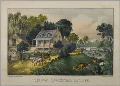 Currier & Ives (American). <em>American Homestead Summer</em>, 1868-1869. Hand-colored lithograph on wove paper, 7 7/8 x 12 3/8in. (20 x 31.4cm). Brooklyn Museum, Gift of Mrs. Harry Elbaum in honor of Daniel Brown, art critic, 1991.285.3 (Photo: Brooklyn Museum, 1991.285.3_PS1.jpg)