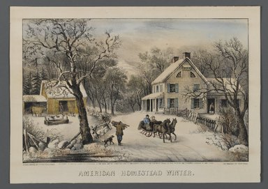 Currier & Ives (American). <em>American Homestead Winter</em>, 1868-1869. Hand-colored lithograph on wove paper, Sheet: 9 3/4 x 13 13/16 in. (24.8 x 35.1 cm). Brooklyn Museum, Gift of Mrs. Harry Elbaum in honor of Daniel Brown, art critic, 1991.285.4 (Photo: Brooklyn Museum, 1991.285.4_PS1.jpg)