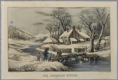 Currier & Ives (American). <em>The Ingleside Winter</em>, n.d. Hand-colored lithograph on wove paper, Sheet: 9 1/2 x 14 3/16 in. (24.2 x 36 cm). Brooklyn Museum, Gift of Mrs. Harry Elbaum in honor of Daniel Brown, art critic, 1991.285.5 (Photo: Brooklyn Museum, 1991.285.5_PS1.jpg)