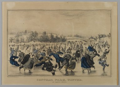 Currier & Ives (American). <em>Central Park, Winter, The Skating Carnival</em>, n.d. Hand-colored lithograph on wove paper, Sheet: 14 1/8 x 10 1/16 in. (35.8 x 25.5 cm). Brooklyn Museum, Gift of Mrs. Harry Elbaum in honor of Daniel Brown, art critic, 1991.285.6 (Photo: Brooklyn Museum, 1991.285.6_PS1.jpg)