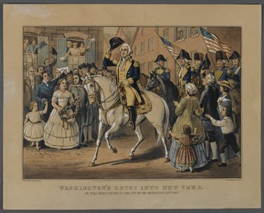 Currier & Ives (American). <em>Washington's Entry into New York</em>, 1857. Hand-colored lithograph on wove paper, 10 1/2 x 14 3/4in. (26.7 x 37.5cm). Brooklyn Museum, Gift of Mrs. Harry Elbaum in honor of Daniel Brown, art critic, 1991.285.7 (Photo: Brooklyn Museum, 1991.285.7_PS1.jpg)