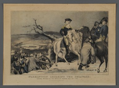 Currier & Ives (American). <em>Washington Crossing the Delaware</em>, 1876. Hand-colored lithograph on wove paper, Sheet: 10 7/16 x 14 3/8 in. (26.5 x 36.5 cm). Brooklyn Museum, Gift of Mrs. Harry Elbaum in honor of Daniel Brown, art critic, 1991.285.8 (Photo: Brooklyn Museum, 1991.285.8_PS1.jpg)