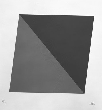 Ellsworth Kelly (American, 1923-2015). <em>Blue/Green, One from a Set of Ten</em>, 1970. Color lithograph, 39 1/2 x 37 3/4 in. (100.3 x 95.9 cm). Brooklyn Museum, Gift of Carroll Janis, 1991.289.9. © artist or artist's estate (Photo: Brooklyn Museum, 1991.289.9_bw.jpg)