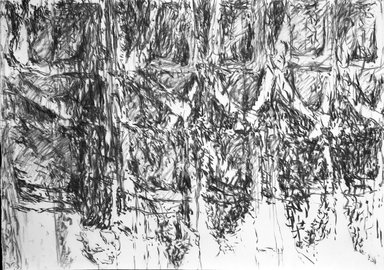 "Ursula von Rydingsvard (American, born Germany, 1942). <em>""Untitled,""</em> February 15, 1991. Charcoal on paper, 29 3/4 x 41 7/8 in. (75.6 x 106.4 cm). Brooklyn Museum, Gift of the artist, 1991.302.2. © artist or artist's estate (Photo: Brooklyn Museum, 1991.302.2_bw.jpg)"
