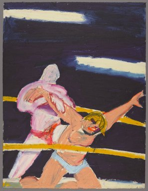 Stephen Lack (Canadian, born 1946). <em>Wrestlers</em>, 1985. Oilstick on paper, 22 x 30 in. (55.9 x 76.2 cm). Brooklyn Museum, Gift of Jonathan B. Seliger, 1991.303. © artist or artist's estate (Photo: Brooklyn Museum, 1991.303_PS9.jpg)