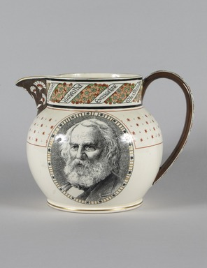 Thomas Allen (English, 1831-1915). <em>Longfellow Pitcher</em>, 1879. Glazed earthenware, transfer printed decoration, gilt, 6 11/16 x 8 7/8 x 6 1/8 in. (17.0 x 22.5 x 15.5 cm). Brooklyn Museum, Robert B. Woodward Memorial Fund, 1991.38. Creative Commons-BY (Photo: Brooklyn Museum, 1991.38_PS5.jpg)