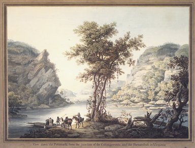 William Strickland (British, 1787-1854). <em>View down the Potomack, from the Junction of the Cohongoronta and the Shenandoah in Virginia</em>, 1795-1796. Watercolor over graphite on cream, moderately thick, slightly to moderately textured laid paper mounted to paperboard, Overall: 20 11/16 x 27 1/2 in. (52.5 x 69.9 cm). Brooklyn Museum, Dick S. Ramsay Fund, 1991.43 (Photo: Brooklyn Museum, 1991.43_transp389.jpg)