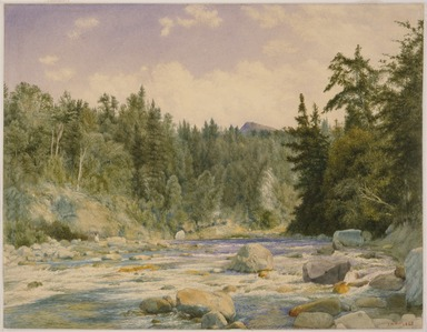 John William Hill (American, 1812-1879). <em>Mountain Stream</em>, 1863. Watercolor over graphite on wove paper, Sheet: 13 3/16 × 17 in. (33.5 × 43.2 cm). Brooklyn Museum, Gift of Mary Stewart Bierstadt, by exchange, 1991.44.1 (Photo: , 1991.44.1_SL3.jpg)
