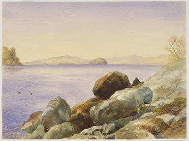 John Henry Hill (American, 1839-1922). <em>Lake George</em>, 1875. Watercolor over graphite on paper, 10 7/16 x 14in. (26.5 x 35.6cm). Brooklyn Museum, Gift of Mary Stewart Bierstadt, by exchange, 1991.44.2 (Photo: Brooklyn Museum, 1991.44.2_SL3.jpg)