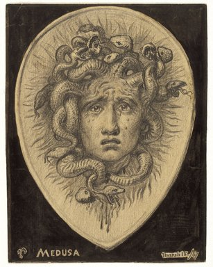 Elihu Vedder (American, 1836-1923). <em>Medusa</em>, March 18, 1867. Graphite and ink on paper, Sheet: 4 1/4 x 3 5/16 in. (10.8 x 8.4 cm). Brooklyn Museum, Gift of Mr. and Mrs. Lawrence Fleischman, 1991.57 (Photo: Brooklyn Museum, 1991.57_IMLS_SL2.jpg)